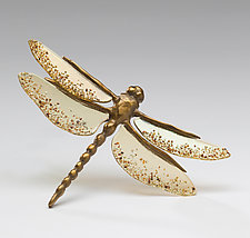Brown Dragonfly with Amber Wings by Sandy Graves (Art Glass & Bronze Sculpture)