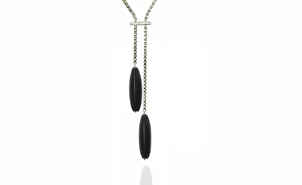 Onyx Silver Double Drop Bar Necklace