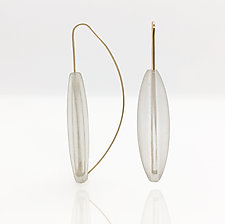 White Quartz Quad Sided Earrings on Wire by Claudia Endler (Gold, Silver & Stone Earrings)