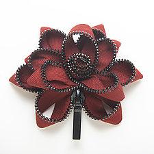 Burgundy Zipper Pin by Kate Cusack (Zippered Pin)