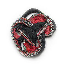 Zipper Knot Loop Brooch by Kate Cusack (Zippered Pin)