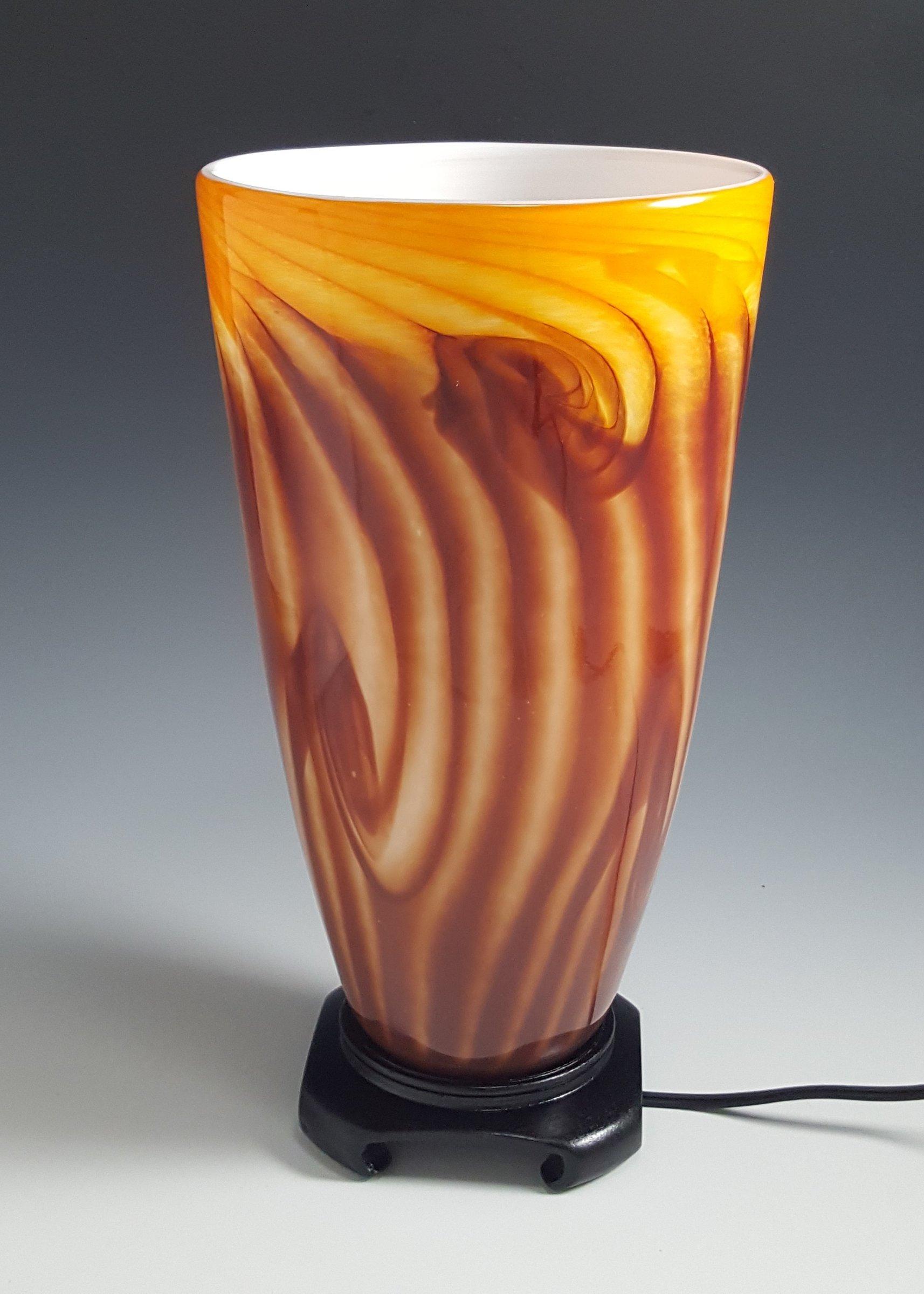 Red Gold Tall Uplight Lamp By Mark Rosenbaum Art Glass