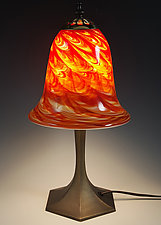 Hot Mix Trumpet Table Lamp by Mark Rosenbaum (Art Glass Table Lamp)