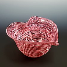 Pink Optic Heart Bowl by Mark Rosenbaum (Art Glass Bowl)