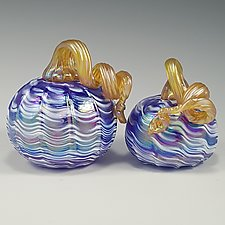 Blue & White Iridescent Pumpkin by Mark Rosenbaum (Art Glass Sculpture)