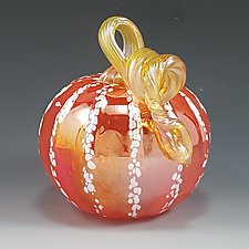 Grande Orange & White Transparent Iridescent Pumpkin by Mark Rosenbaum (Art Glass Sculpture)