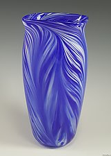 Blue White Peacock Vase by Mark Rosenbaum (Art Glass Vase)