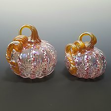 Striped Clear Pink Iridescent Pumpkin by Mark Rosenbaum (Art Glass Sculpture)