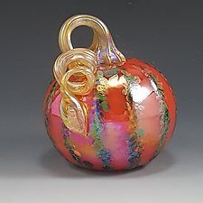 Grande Orange Leaf Striped Pumpkin by Mark Rosenbaum (Art Glass Sculpture)