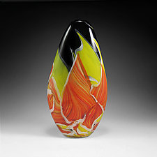 Tall Teardrop Transformation Vase by Mark Rosenbaum (Art Glass Sculpture)