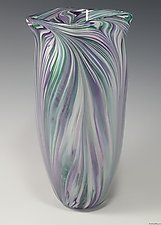 Cool Mix White Peacock Vase by Mark Rosenbaum (Art Glass Vase)