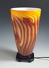 Red-Gold Tall Uplight Lamp by Mark Rosenbaum (Art Glass Table Lamp)