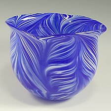 Blue White Peacock Bowl by Mark Rosenbaum (Art Glass Bowl)