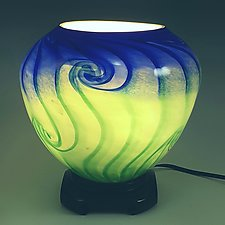 Blue Green Round Up Light by Mark Rosenbaum (Art Glass Table Lamp)