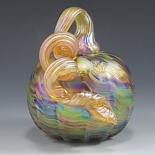 Carnival Iridescent Pumpkin by Mark Rosenbaum (Art Glass Sculpture)
