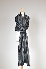 Gray Textured Drawstring Wrap by Carol Turner (Woven Scarf)