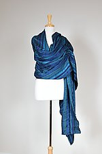 Blue Drawstring Ribbon Wrap by Carol Turner (Woven Scarf)