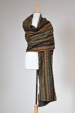 Olive Textured Drawstring Wrap by Carol Turner (Woven Scarf)