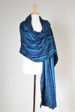 Blue RIbbon Wrap by Carol Turner (Woven Scarf)