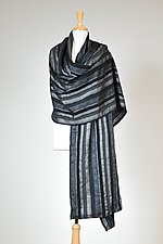 Gray Ribbon Wrap by Carol Turner (Woven Scarf)