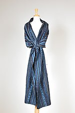 Blue Textured Drawstring Wrap by Carol Turner (Woven Scarf)