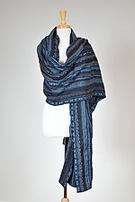 Navy Textured Wrap by Carol Turner (Woven Scarf)
