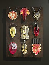 African Mask Wall by Marlene Rose (Art Glass Wall Sculpture)