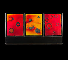 Merlot Map Triptych by Marlene Rose (Art Glass Sculpture)