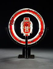 Roma Red Ring Buddha with Floating Rings by Marlene Rose (Art Glass Sculpture)