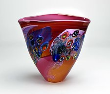 Color Field Vessel in Pink by Wes Hunting (Art Glass Vessel)