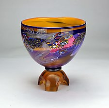Colorfield Tripod Bowl by Wes Hunting (Art Glass Vessel)
