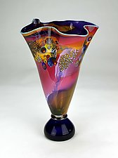 Fluted Color Field Vessel by Wes Hunting (Art Glass Vessel)