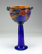 Color Field Chalice in Amber and Blue by Wes Hunting (Art Glass Vessel)