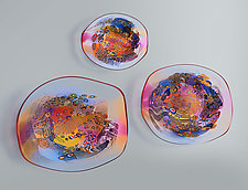 Color Field Sculpture in Ruby and Blue by Wes Hunting (Art Glass Wall Sculpture)