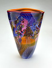 Large Colorfield Vessel in Amber and Blue by Wes Hunting (Art Glass Vessel)