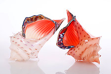 Sunrise Conch Shell Set by Benjamin Silver (Art Glass Sculpture)