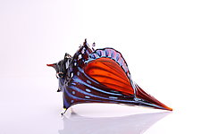 Electric Red Conch Shell by Benjamin Silver (Art Glass Sculpture)