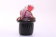 Chocolate Mint Raspberry Cupcake by Benjamin Silver (Art Glass Sculpture)