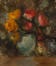 Impetuous Roses by Leslie Dyas (Oil Painting)