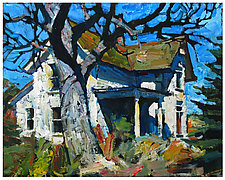 Abandoned White House with Porch by Jeff Darrow (Acrylic Painting)