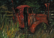 Red Utility Truck by Jeff Darrow (Mixed-Media Painting)