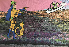 Cowgirl and Alien by Kim H. Ritter (Fiber Wall Hanging)
