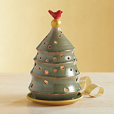 Tree Candle Holder with Red Bird by Suzanne Crane (Ceramic Candleholder)