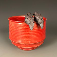 Two Lovebirds on Red Cup by Suzanne Crane (Ceramic Cup)