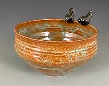 Bird Friend Bowl in Lichen by Suzanne Crane (Ceramic Bowl)