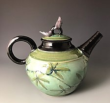 Passion Flower Vine Teapot with Birds by Suzanne Crane (Ceramic Teapot)