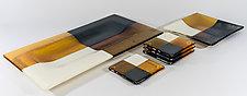 Quadtro Style Trays and Coasters by Renato Foti (Art Glass Tray & Coasters)