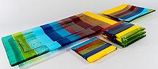 Rainbow Colors Trays and Coasters by Renato Foti (Art Glass Tray & Coasters)