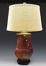 Lamp 27 Horsehair Fired with Brass Kintsugi Repair and Burlap Shade by Ron Mello (Ceramic Table Lamp)