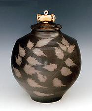 Handmade Sagger Fired Covered Urn Fired With Fresh Green Vegetation by Ron Mello (Ceramic Vase)